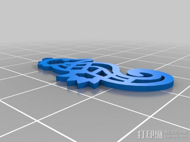海马吊坠 3D模型  图1