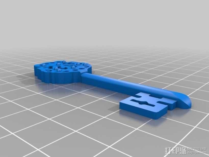 古董钥匙 3D模型  图1