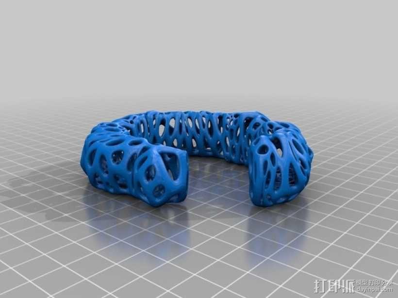 泰森多边形 手镯 3D模型  图2