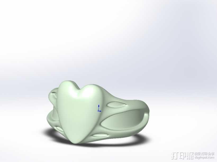桃心戒指 3D模型  图1
