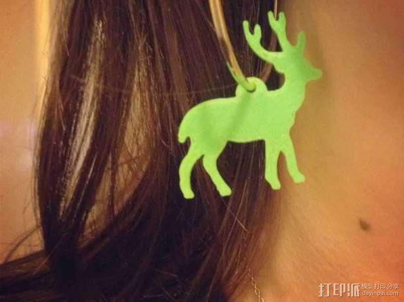 麋鹿形圣诞耳环 3D模型  图1