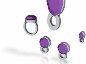 紫水晶戒指 3D模型