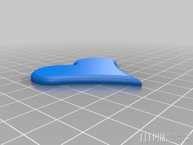 心形项链坠 3D模型  图4