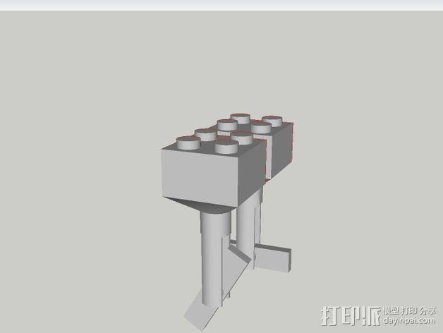 乐高积木 袖扣 3D模型  图4