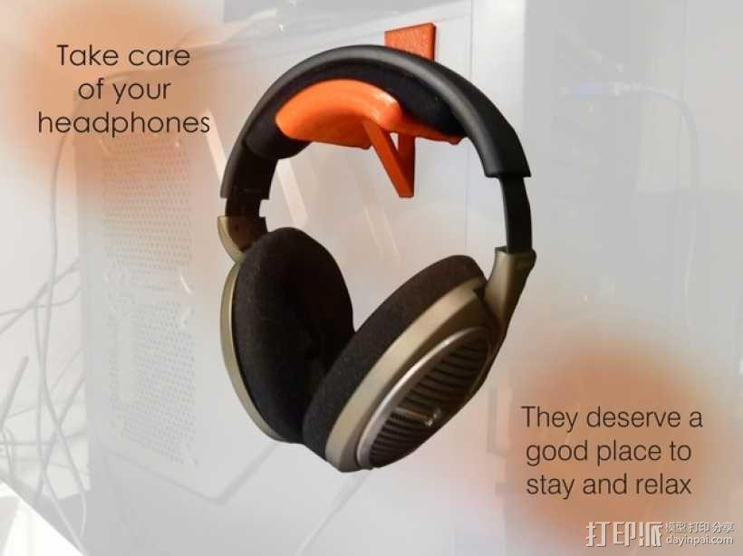 头戴耳机悬挂架 3D模型  图1