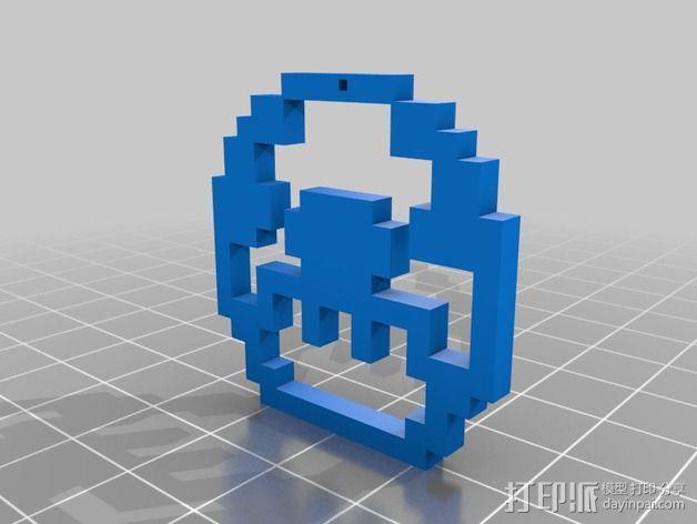 像素吊坠 3D模型  图1
