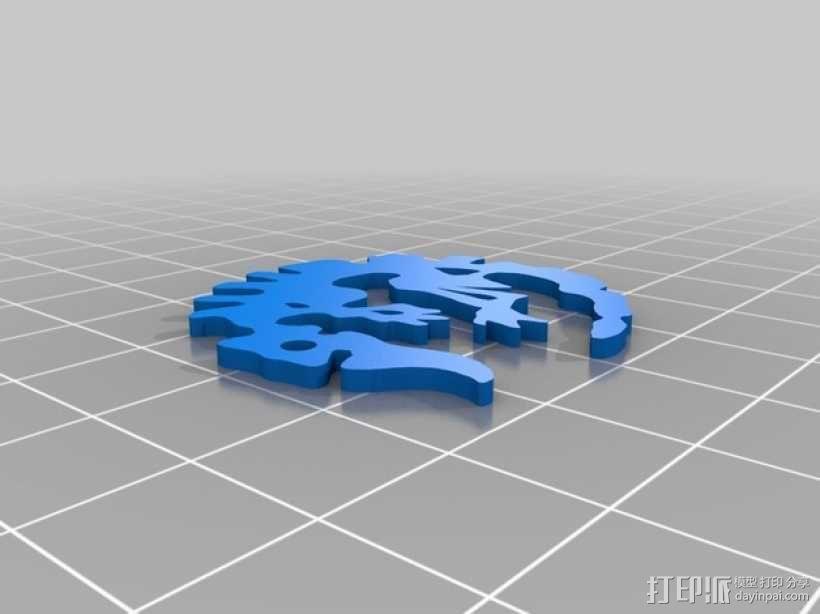 化石吊坠 3D模型  图3
