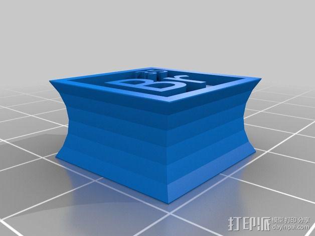 正方形耳钉 3D模型  图2