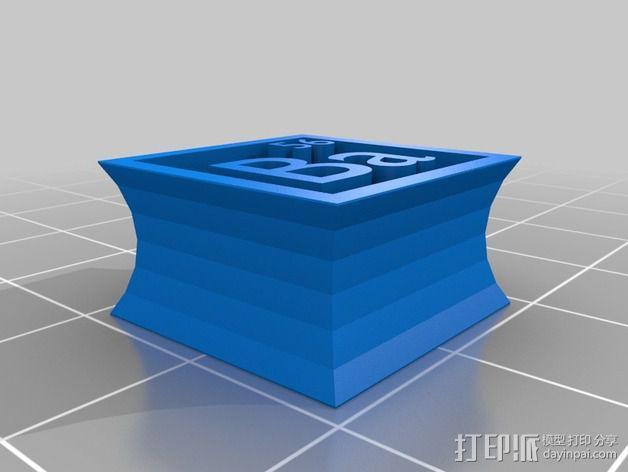 正方形耳钉 3D模型  图3