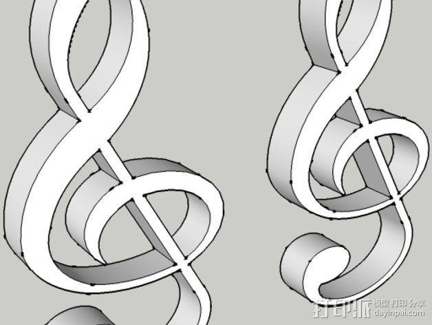 音符耳坠 3D模型  图1