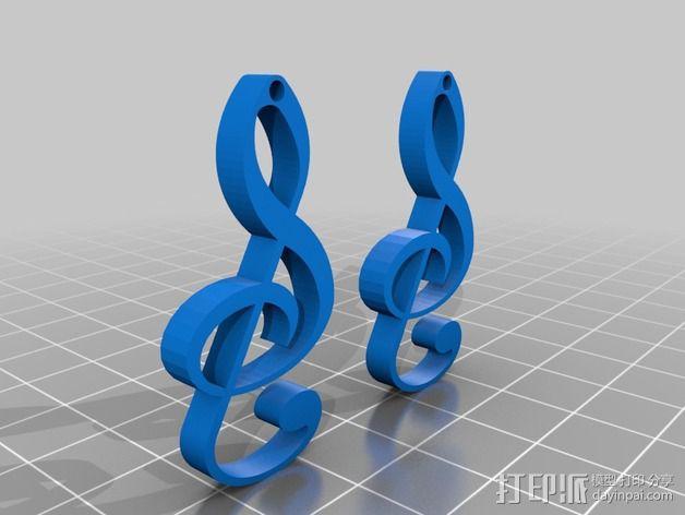 音符耳坠 3D模型  图2