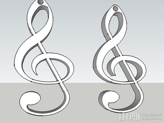 音符耳坠 3D模型  图4