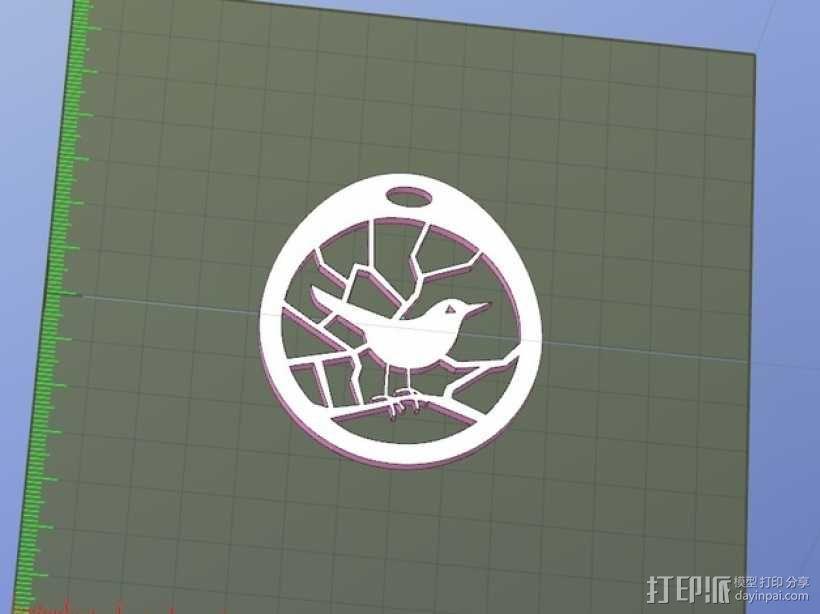 小鸟项链坠 3D模型  图2