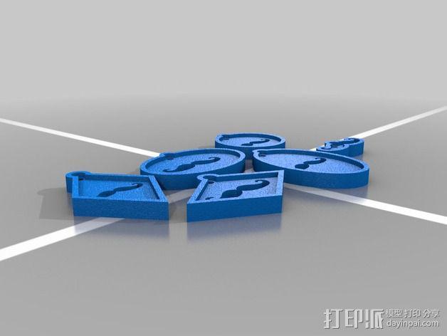 八字须挂件 3D模型  图2