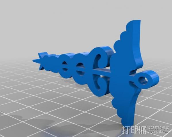 墨丘利的节杖 钥匙挂扣 3D模型  图2