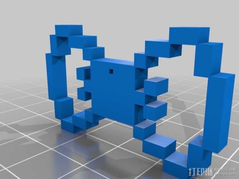 像素蝴蝶结 3D模型  图1