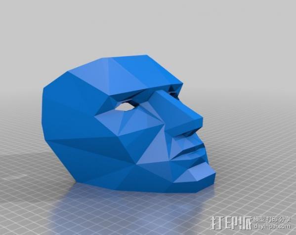 蓝色面具 3D模型  图2