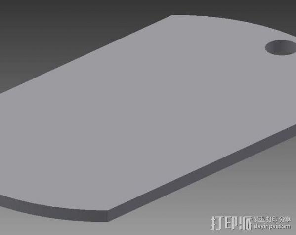 军用身份识别牌 3D模型  图1
