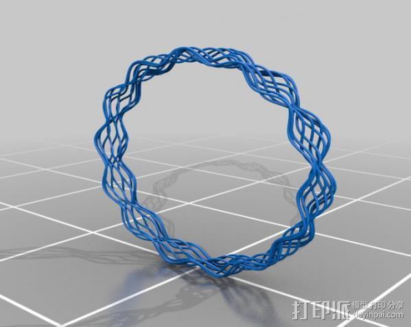 细线螺旋手镯 3D模型  图2