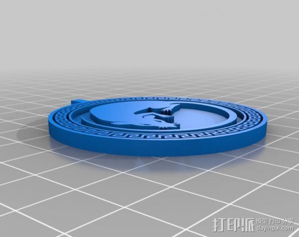 安德的游戏军队标识项链 3D模型  图2