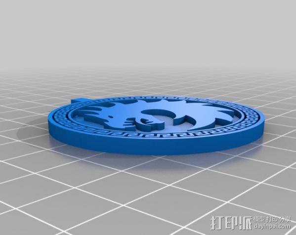 安德的游戏军队标识项链 3D模型  图6