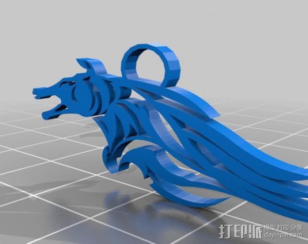 马型耳环 3D模型  图1