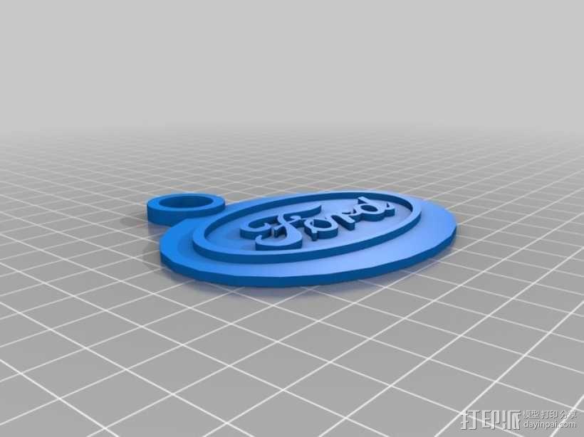 福特钥匙链 3D模型  图1