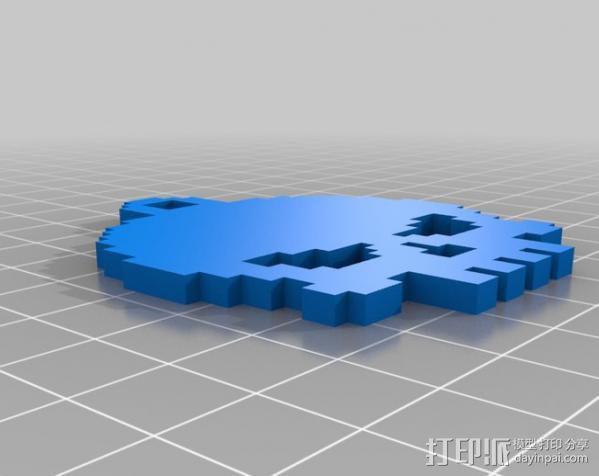 骷髅头钥匙链 3D模型  图1
