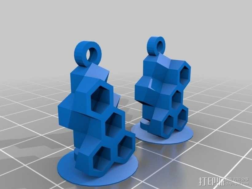 蜂巢耳环 3D模型  图1