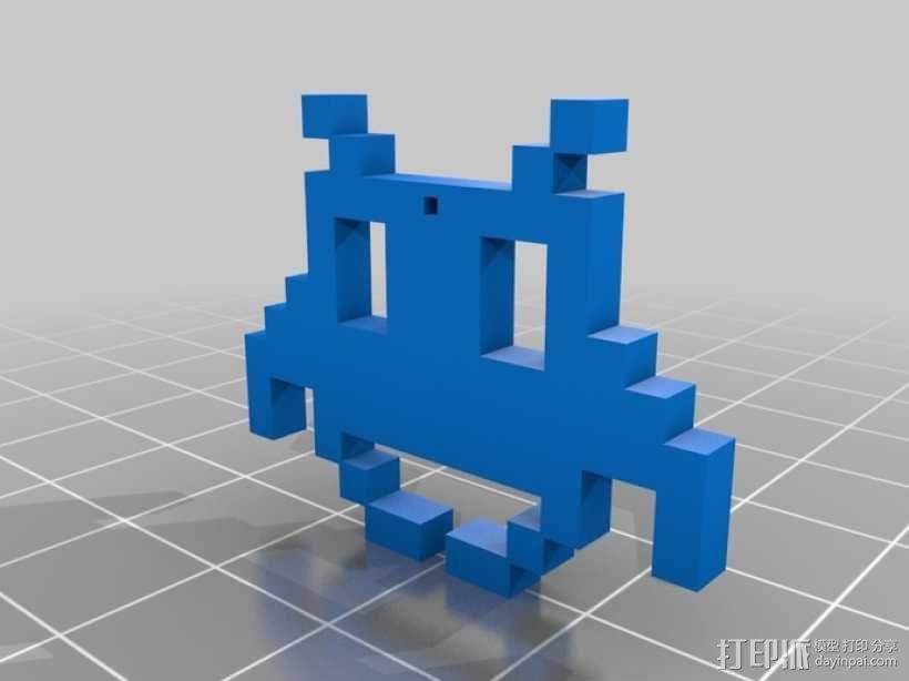 太空入侵者 吊坠 3D模型  图1