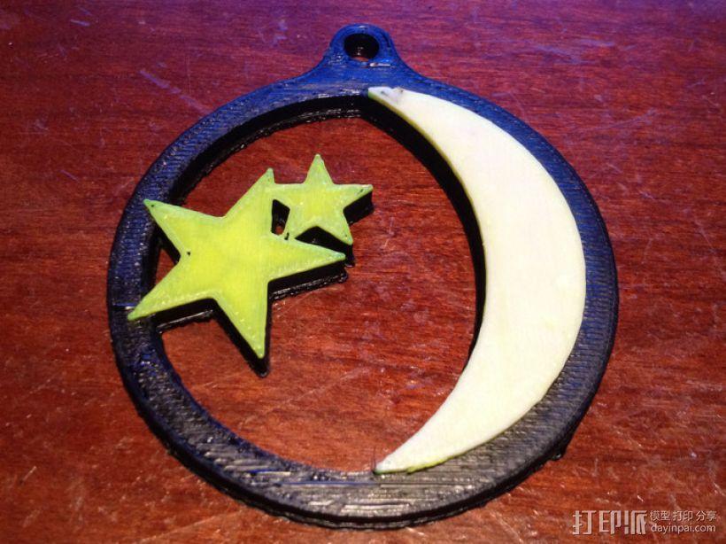 星星和月亮 吊坠 3D模型  图3