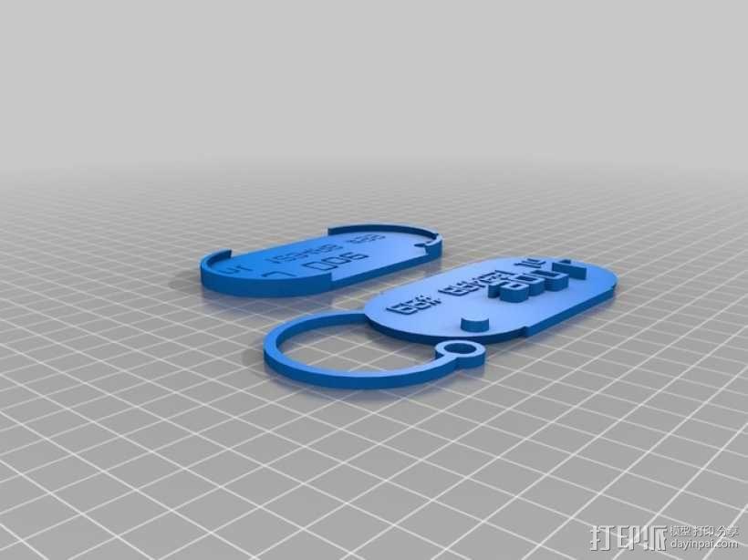 行李箱标签 3D模型  图1