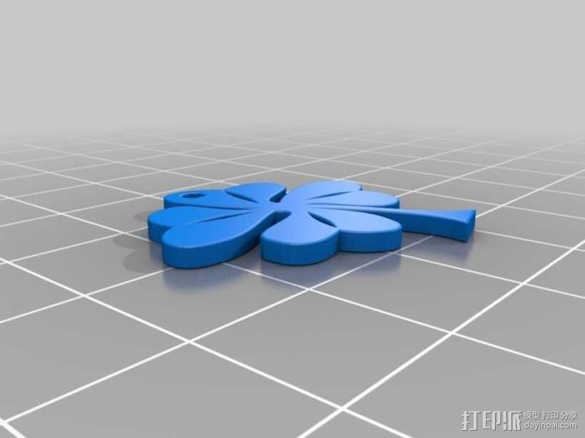 三叶草吊坠 3D模型  图1