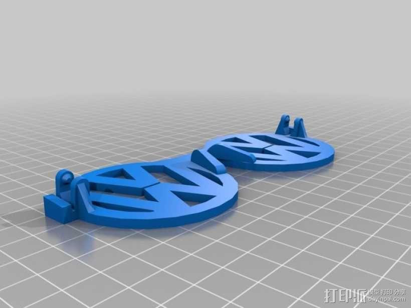 大众汽车标志眼镜 3D模型  图1