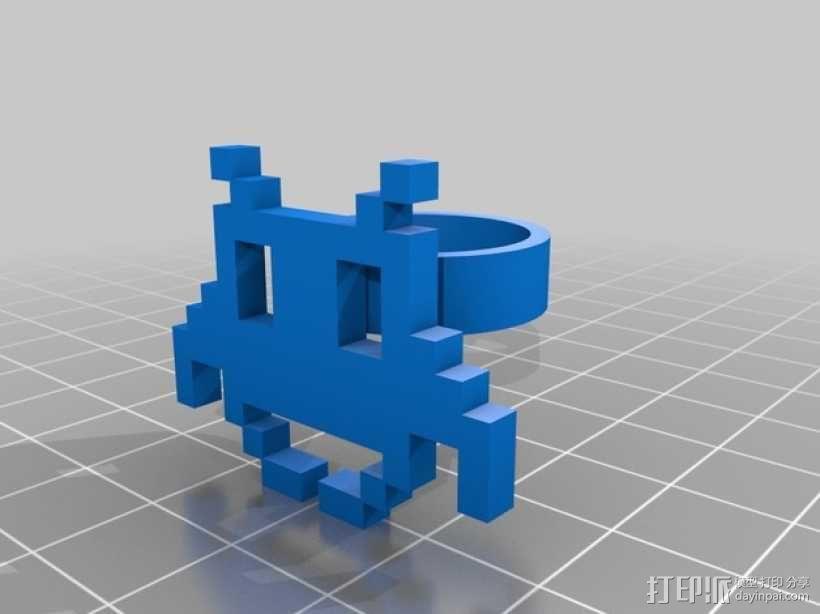可定制像素艺术戒指 3D模型  图1
