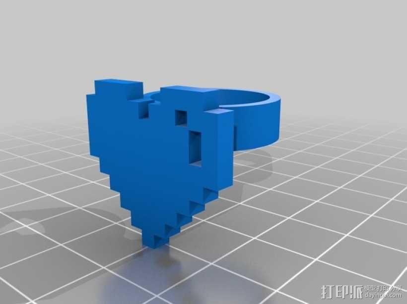 可定制像素艺术戒指 3D模型  图2