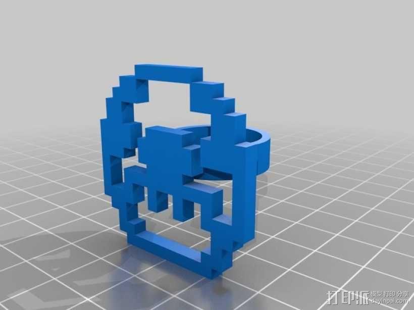 可定制像素艺术戒指 3D模型  图3