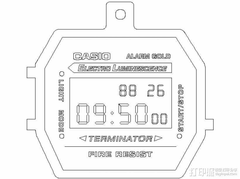 卡西欧手表项链挂饰 3D模型  图1
