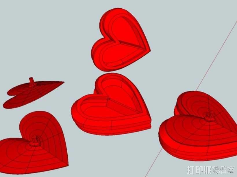 心型盒 3D模型  图1