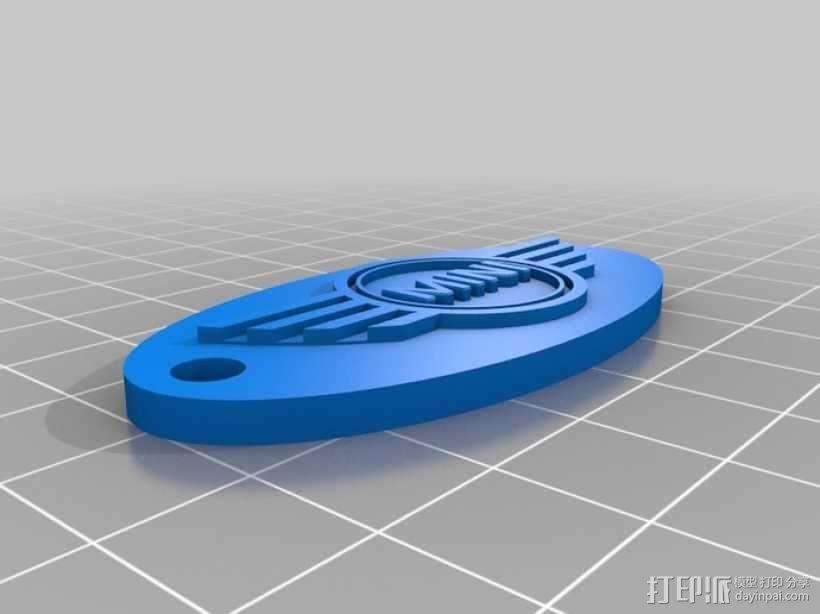可定制钥匙环 3D模型  图1