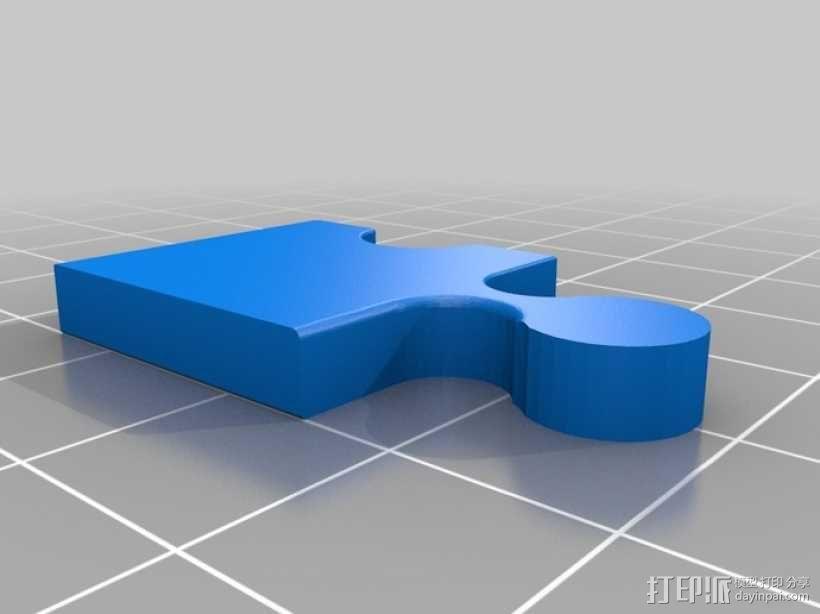 拼图耳环 3D模型  图1