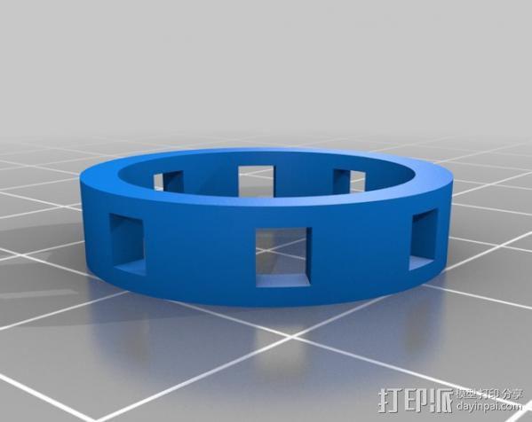 带有方形切口的参数型戒指 3D模型  图5