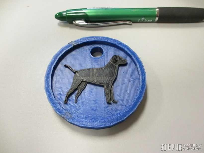 狗狗钥匙链 3D模型  图1