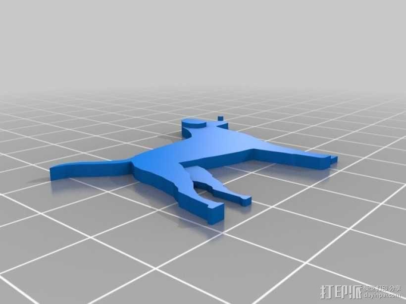 狗狗钥匙链 3D模型  图2
