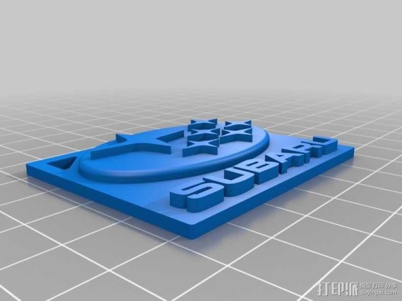 斯巴鲁logo 钥匙链 3D模型  图1
