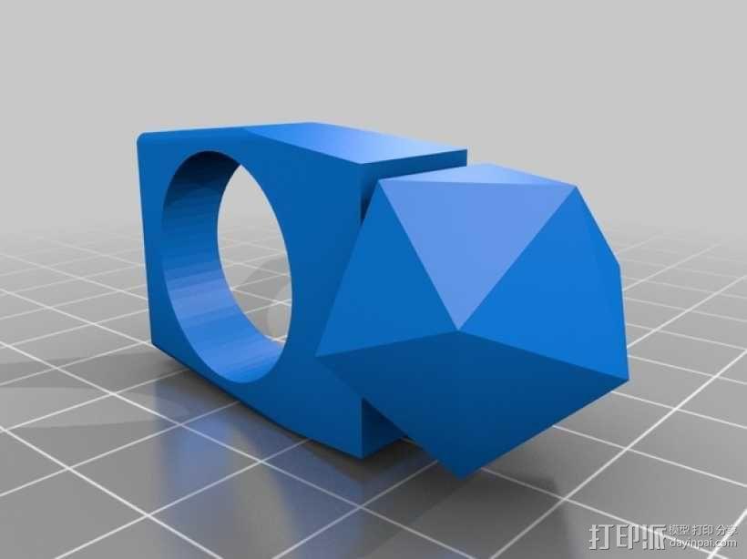 正二十面体 戒指 3D模型  图1