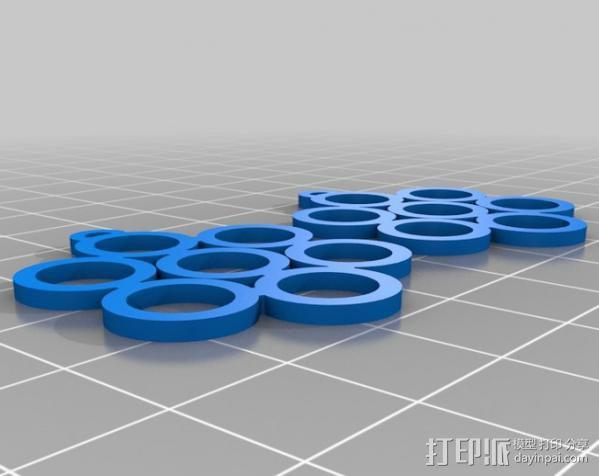 生命之花耳环 3D模型  图1