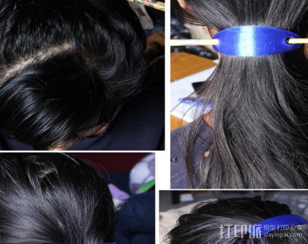 发夹和筷子发夹 3D模型  图2