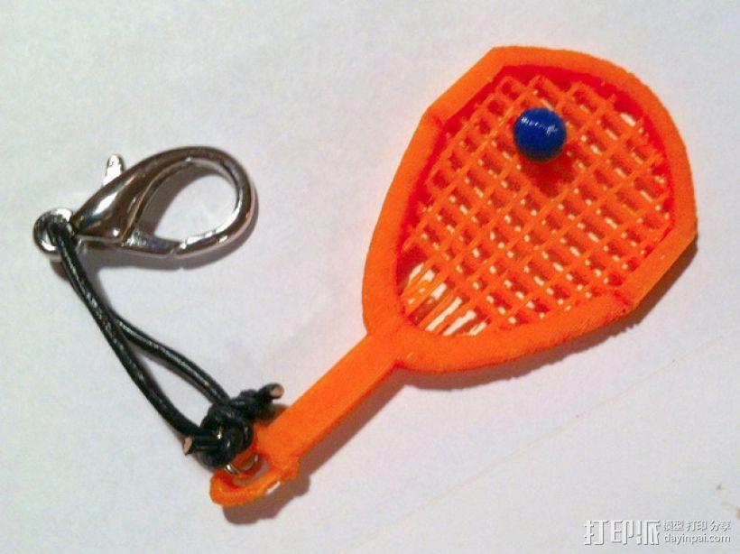 网球拍 钥匙坠 3D模型  图1