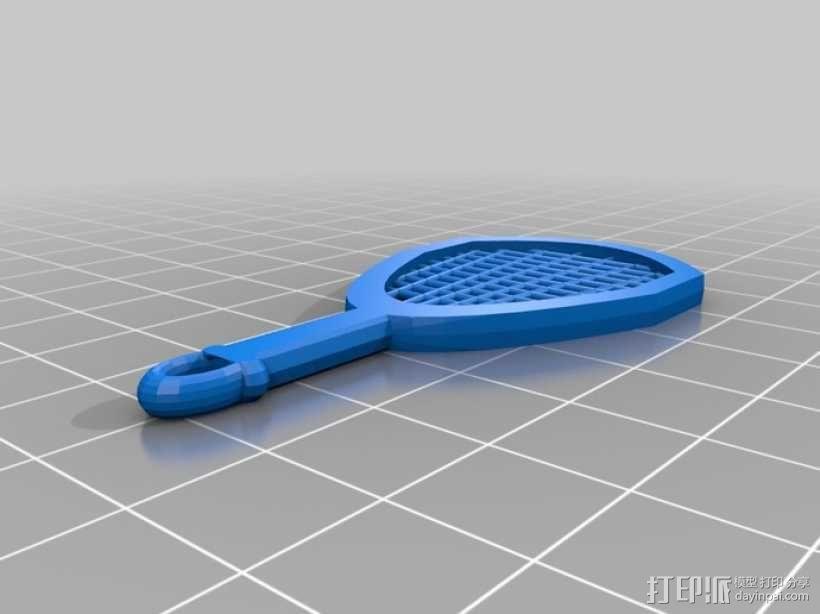 网球拍 钥匙坠 3D模型  图2